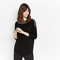 Oasis - Black embellished neck knitted jumper