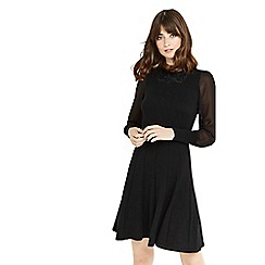 Oasis - Black lace collar and sheer sleeves dress