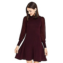 Oasis - Burgundy lace collar and sheer sleeves dress