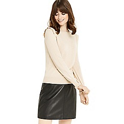 Oasis - Nude frill shoulder and cuff knit top