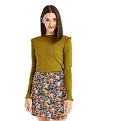Oasis - Green frill shoulder and cuff jumper