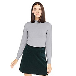 Oasis - Grey mini scallop turtle neck jumper
