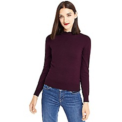Oasis - Burgundy mini scallop turtle neck jumper
