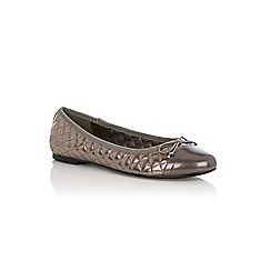 Oasis - Pewter quilted ballerina flat shoes