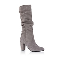 Oasis - Grey 'Skye' slouch suede boots