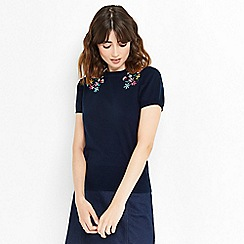 Oasis - Embroidered floral short sleeves knitted jumper