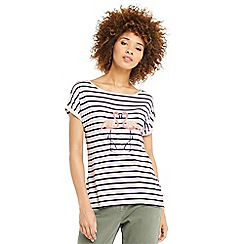 Oasis - Stripe kissing flamingo t-shirt
