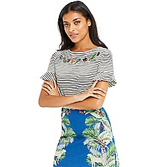 Oasis - Embroidered stripe flute sleeves t-shirt