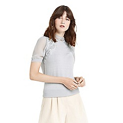 Oasis - Lace and sheer knit jumper