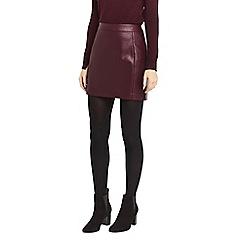Oasis - Burgundy faux leather seamed mini skirt