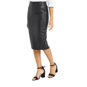 Oasis Black faux leather pencil skirt