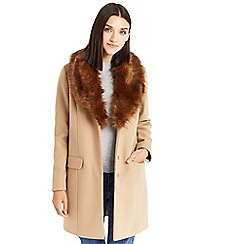 Oasis - Camel 'Fran' shawl faux fur collar coat