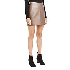 Oasis - Bronze faux leather metallic skirt