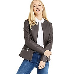Oasis - Faux Leather collarless jacket