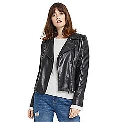 Oasis - Black 'Hollie' leather biker jacket