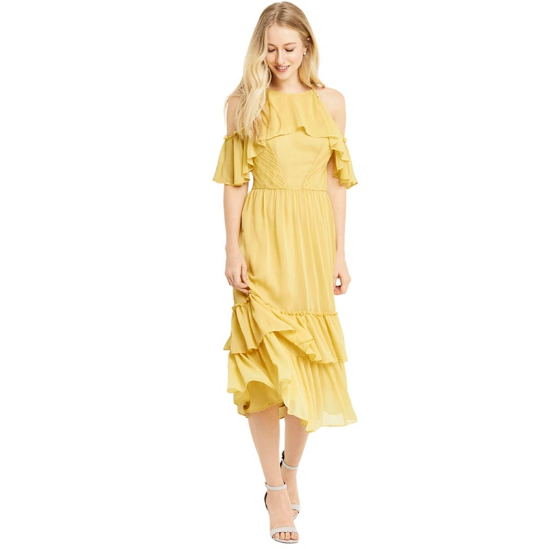 Oasis Yellow ruffle midi dress