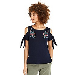 Oasis - Embroidered tie sleeves t-shirt