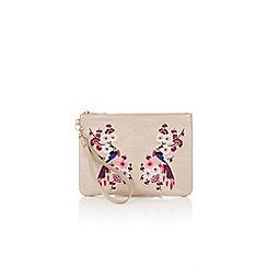 Oasis - Cream kimono embroidered clutch bag