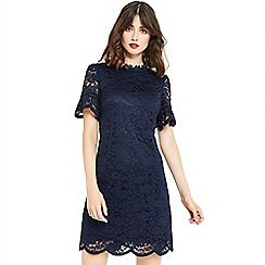 Oasis - Lace highneck flute sleeves dress