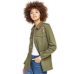 Oasis - Khaki rose embroidered utility jacket
