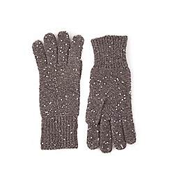 Oasis - Grey sequin knitted gloves