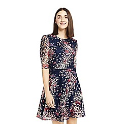 Oasis - Multi coloured floral print puff sleeves lace dress