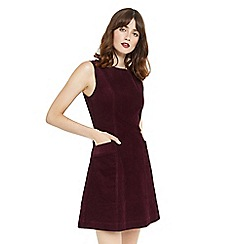 Oasis - Burgundy cut about cord dress