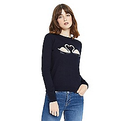 Oasis - Kissing swan embroidered knit