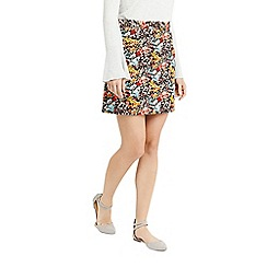 Oasis - Multi coloured floral print cut above cord skirt