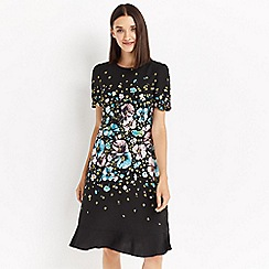 Oasis - Multi black long length 'Rosetti' skater dress