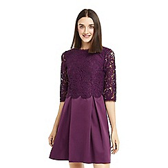 Oasis - Purple lace bodice skater dress
