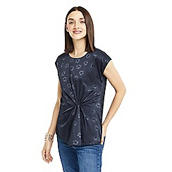Oasis - Navy floral jacquard twist top