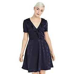 Oasis - Navy floral jacquard tea dress