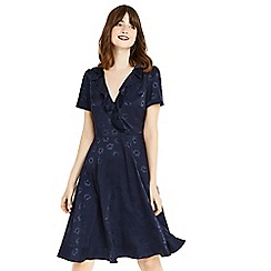 Oasis - Navy long length floral jacquard dress