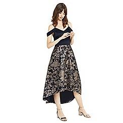 Oasis - Multi blue kimono jacquard print 2 in 1 midi dress