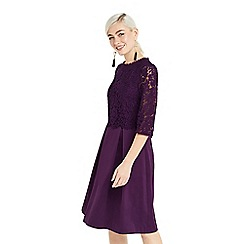 Oasis - Purple long lace bodice skater dress