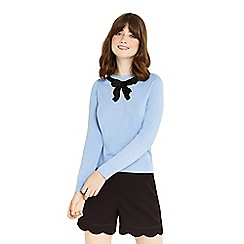 Oasis - Blue 'jackie' embellished bow knit jumper