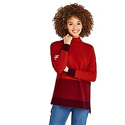 Oasis - Multi red funnel neck long length colour block knit jumper