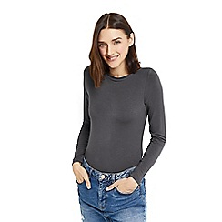 Oasis - Grey plain envelope neck top