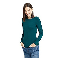 Oasis - Teal plain envelope neck top