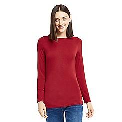 Oasis - Red plain envelope neck top