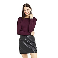 Oasis - Burgundy plain envelope neck top