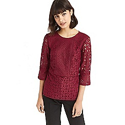Oasis - Burgundy kick sleeve lace top