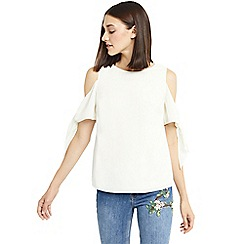 Oasis - Natural long tie shoulder top
