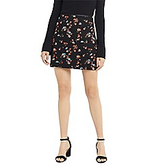 Oasis - Multi black 'Ruby' floral mini skirt