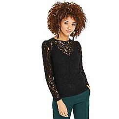 Oasis - Black lace puff sleeves tee
