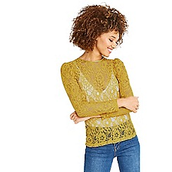 Oasis - Ochre lace puff sleeves t-shirt