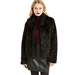 Oasis - Black 'Mimi' fur jacket