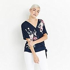 Oasis - Navy kimono wrap front t-shirt