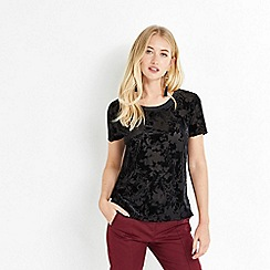 Oasis - Black velvet burnout t-shirt